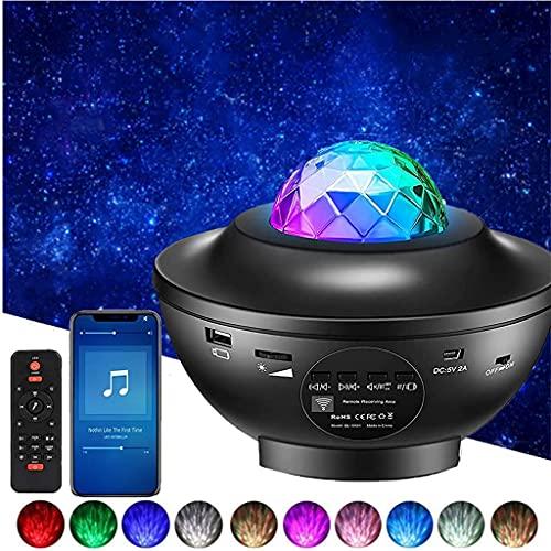 YunLone Proiettore a Luce Stellare Altoparlante Bluetooth Lampada musicale con telecomando, 21 modalità Colore Rotante Nebulosa Dimmerabili Galassia Luce