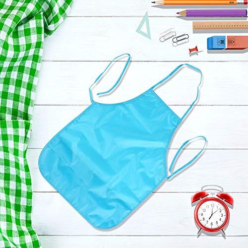 Delantal infantil impermeable 48 * 35cm niños sin mangas para hornear en casa(Light blue)