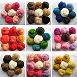 70 Color 350g Roving Dyed Spinning Wet Felting Fiber Wool Corriedale Needle felting(Random Color), with 1 Foam Pad Free