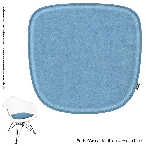 Feltd. Eco Filz Kissen geeignet für Vitra Eames Armchair DAW,DAR,DAX,RAR,DAL - 29 Farben - optional mit Antirutsch und gepolstert! (lichtblau)
