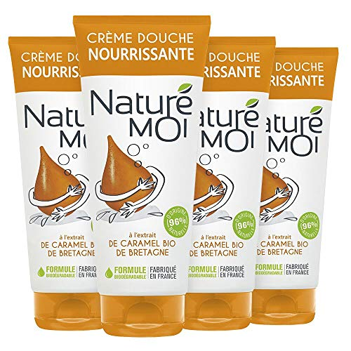 Naturé Moi – Crème douche à l'extrait de caramel bio de Bretagne – Hydrate et nourrit les peaux normales à sèches – Lot de 4 – 200ml