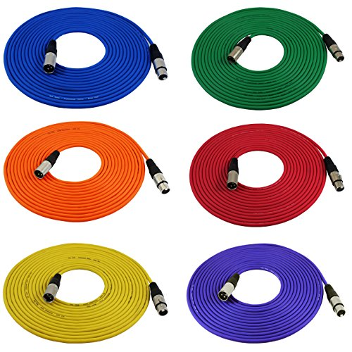 GLS Audio 25ft Mic Cable Cords - XLR Male to XLR Female Colored Cables - 25' Balanced Mike Cord - 6 Pack