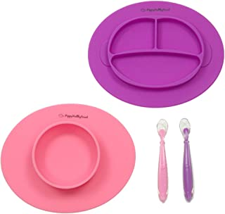Silicone Bowl and Silicone Plate Easily Wipe Clean - Self Feeding Set Reduces Spills - Spend Less Time Cleaning After Meals with a Baby or Toddler - Set Includes 2 Colors (Pink/Purple)