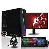 dercomputerladen Gaming Komplett PC Set RGB Cylon AMD Ryzen 3-3200G 4x3.6 GHz - 240GB SSD, 8GB DDR4, Vega 8, WLAN mit 22 Zoll TFT, Maus, Tastatur, Headset, Windows 10 Pro Spiele Computer Rechner