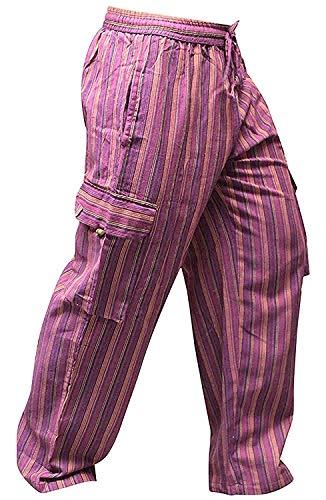 Shopoholic Fashion Bunt-gestreifte Hippie-Hose mit weitem Bein und Seitentaschen, Unisex Gr. XXXL, L.Purple