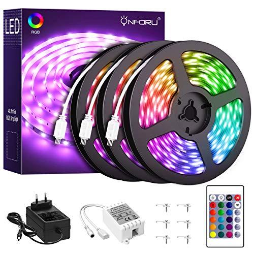 Onforu Kit de 15m Tira LED RGB, Cinta Adhesiva Multicolor 450 LEDs 5050 RGB Flexible con Mando a Distancia y 24V Adaptador Luz Ambiental para Fiesta Decoración Compleaños Habitación Navidad