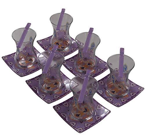 glore glassware Juego de té (18 piezas), color morado y cachemira.