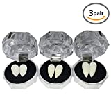 YOUOR 3 Pairs Vampire Teeth Fangs Dentures Halloween Cosplay Props Party Favors