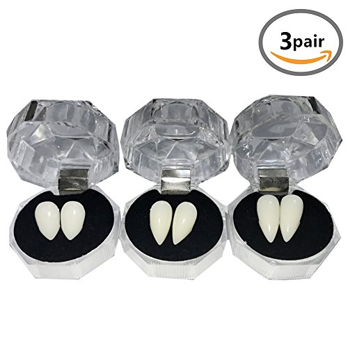 YOUOR 3 Pairs Vampire Teeth Fangs Dentures Halloween Cosplay Props Party Favors