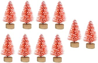 TOYANDONA 12pcs Miniature Christmas Tree Desktop Mini Red Pine Tree with Snow and Wood Base for Xmas Holiday Party Home Ta...