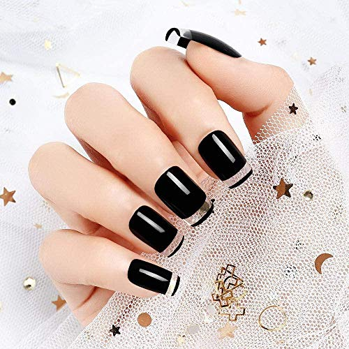 CSCH Faux ongles 24pcs False Nails Simple Solid Black Acrylic Full Cover Fake Nails Tips for Girls Women with Glue Adhesive Pads