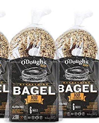 O'Dough Gluten Free Bagel Thins, Everything, 100 Calorie Bagels, 10.58 Ounce [3 Packs]