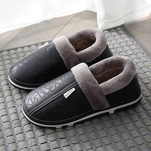 Skysep Fácil Zapatillas de Casa Hombre Invierno PU Impermeable Zapatillas de Algodón de Estar para Pantuflas Térmicos de Invierno Cómodas Zapatos de Interior y Aire Libre Regalos de Invierno