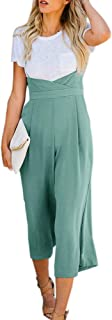 Chuanqi Womens Spaghetti Strap Overalls Wide Leg Jumpsuits High Waisted Pants with Pockets