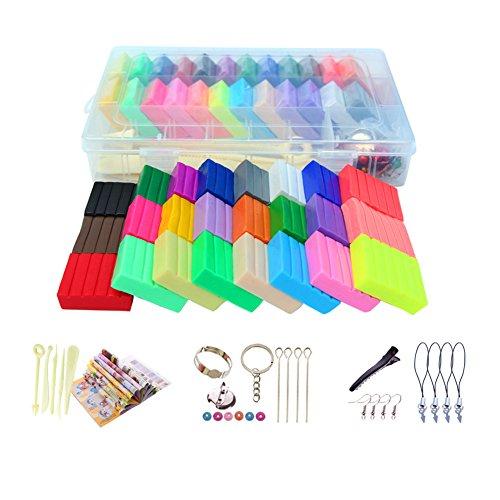 Metermall Home niet-giftige 24 kleuren polymeerklei diy kneedbare zachte boetseerklei set met 5 stuks gereedschap kinderen geschenk speelgoed 500g papieren doos pakket