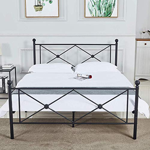 bedinnovation Full Size Bed Frame, Metal Platform Mattress Foundation/Box Spring Replacement with Headboard (Full) (Full)