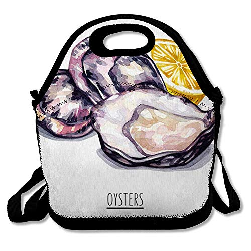 Reusable Lunch Bag for Men Women Antioxidant Watercolor Lemon Oysters White Raw Food Drink Cooking Drawing Drawn Fish Restaurant Insulated Lunch Tote for Travel Office School