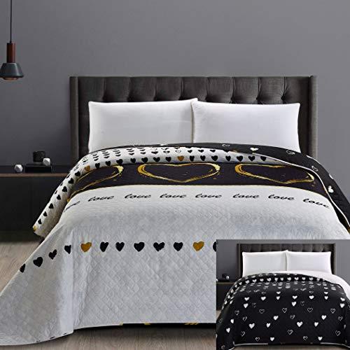 DecoKing 32558 Tagesdecke 240x260 cm Mikrofaser Bettüberwurf Steppung zweiseitig pflegeleicht schwarz weiß golden Herzen Love