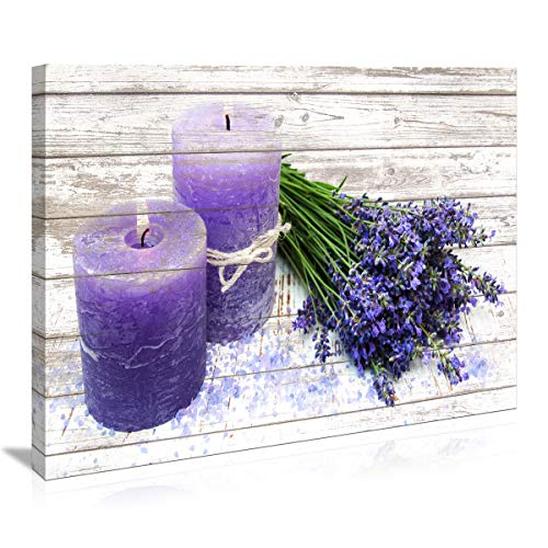 Canvas Wall Art for Bathroom Purple Candles and Lavender Flower Painting Pictures Print on Canvas prints Ready to Hang wall decor for living room bedroom Decoration Modern Home Decor Artwork