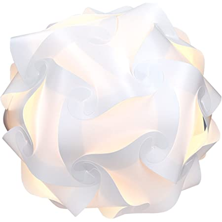 kwmobile Lampe puzzle abat-jour - Luminaire IQ plafond ou chevet - Lumière blanche - Taille XL - Montage 30 pièces 15 modèles - Diamètre env 40 cm
