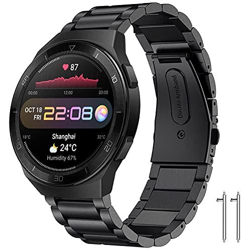 Diruite für Huawei Watch 3/3 Pro/GT2 46mm Armband Uhrenarmband,22mm Galvanisieren Edelstahl Metall für Huawei Watch 3/3Pro/GT2 46mm Ersatzarmbänder
