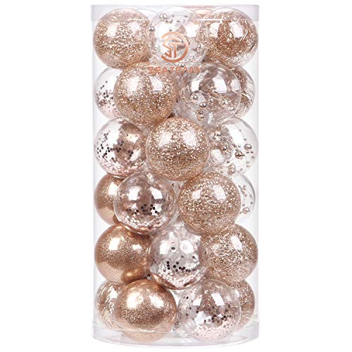 Sea Team 60mm/2.36' Shatterproof Clear Plastic Christmas Ball Ornaments Decorative Xmas Balls Baubles Set with Stuffed Delicate Decorations (30 Counts, Rose Gold)