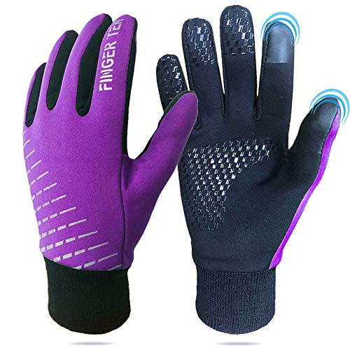 Winter Gloves For Kids Touchscreen Boys Girls, Youth Running Cycling Gloves Lightweight Warm Thermal, Touch Screen Sports Outdoor Gloves For Hiking Driving Skating School Climbing (Purple, X-Large)