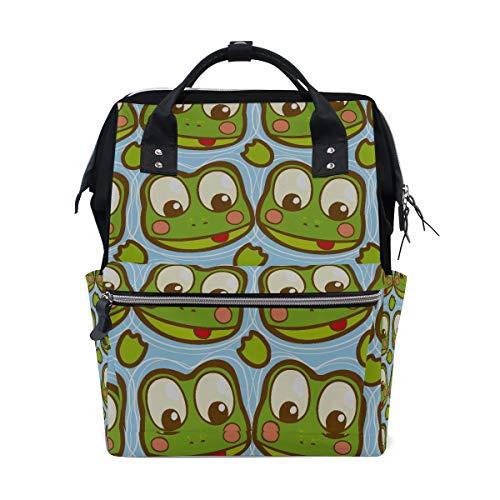 Green Little Pond Happy Frog Bolsas de pañales de gran capacidad Mamá Mochila Múltiples funciones Bolso de lactancia Bolso de mano para niños Cuidado del bebé Viaje Mujeres diarias