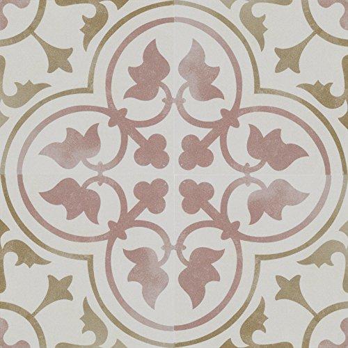 Zementfliesen Optik Gotik Donatello 22,3x22,3cm | Boden-Fliesen | Zement-Fliesen | Dekor | Fliesen-Bordüre | Ideal für den Wohnbereich (auch als Muster erhältlich) (Paket)