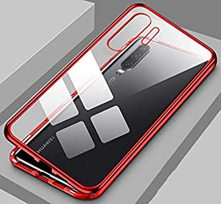 For Huawei P30 Pro Magnetic 360 Metal Case Metal Glass Back Cover - Red