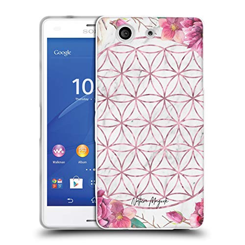 Head Case Designs Offizielle Nature Magick Rose Gold Copper Flowers Marble Mandala Geometric Gold Soft Gel Huelle kompatibel mit Sony Xperia Z3 Compact / D5803