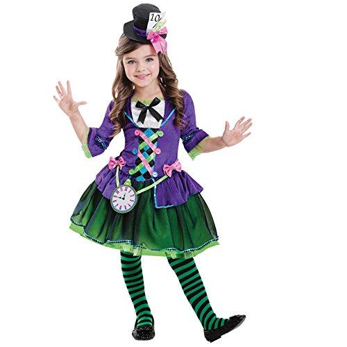 amscan 9903194 Disfraz de Miss Mad Hatter, con insignia de reloj y diadema de sombrero, edad de 7 a 8 años, 1 unidad