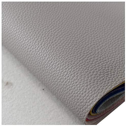 Tela de Polipiel para Tapizar Tela de Imitación de Cuero Parche Cuero Ancho 138cm para Sofá Asiento de Coche Muebles Chaquetas Bolso Polipiel para Tapizar(Size:1.38x1m,Color:Gris Claro)