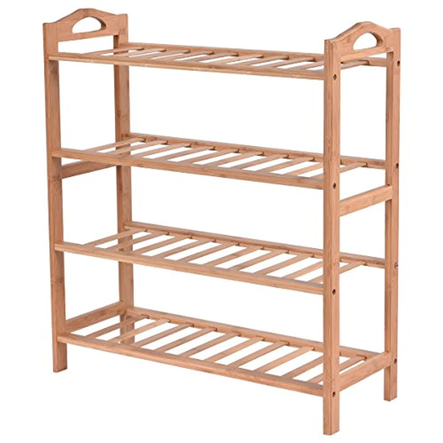 4 Tier Bamboo Shoe Rack Entryway Shelf Storage Shoe Organizer New