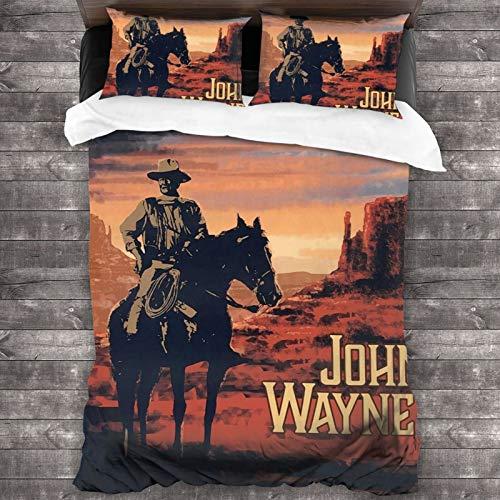 258 John-Wayne 3 Piece Bedding Set Quilt Set Full Queen Size,Microfiber Ultra Soft Comforter Cover Bedding Set for All Seasons with 2 Pillow Shams 1 Duvet Cover 86