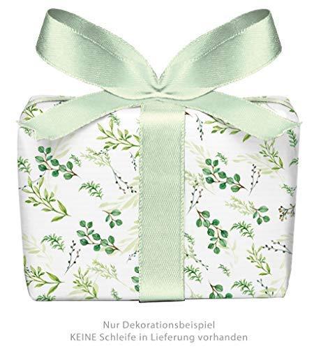 5er Set: 5 Bögen Geschenkpapier ZWEIGE GRÜN • Für jeden Anlass Geburtstag Taufe Kommunion Konfirmation Ostern Hochzeit Weihnachten • Format: 50 x 70 cm