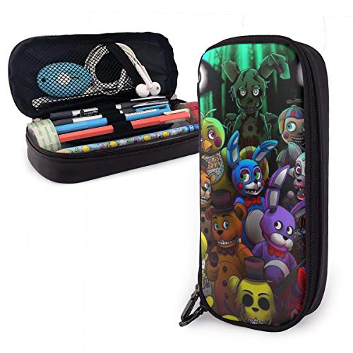 ENQLwju1 FNAF-Freddy-World Leather Pencil Case Holder Office Buggy Pouch Zipper Pen Stationery Bags
