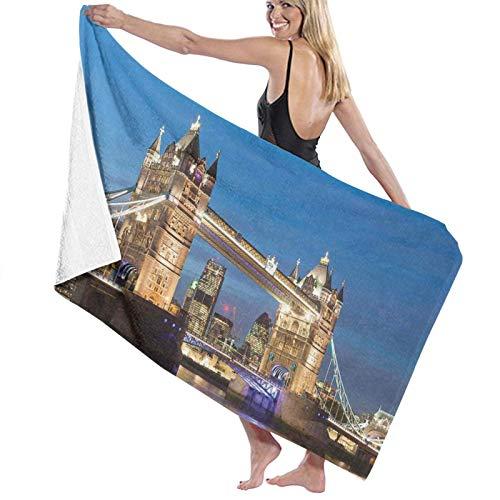 Grande Suave Ligero Toalla de Baño Manta,Paisaje del emblemático Tower Bridge en el crepúsculo con Rascacielos Inglaterra,Hoja de Baño Toalla de Playa por la Familia Viaje Nadando Deportes,52' x 32'