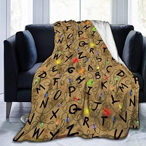 BXBX Stranger Letter Things Vintge Mantas de Franela Ultra Suaves y acogedoras para sofá de Microfibra, Manta de Cama de Microfibra Ligera