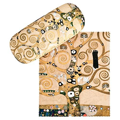 VON LILIENFELD Brillenetui Gustav Klimt Lebensbaum Brillenputztuch Brillenbox Stabiles Hardcase Set mit Putztuch Kunst