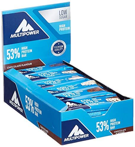 Multipower 53% Protein Bar – 24 x 50 g Proteinriegel Mix Box (1,2 kg) – 27 Gramm Protein pro Energieriegel – mit Eiweißriegeln in 4 Geschmacksrichtungen