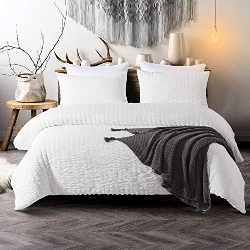 IKONICASA Seersucker Duvet Cover Set 3 Piece Natural Style Washed Microfiber Polyester Comforter Cover with 2 Pillowcases, White, King