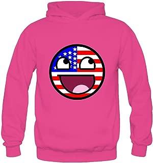 Yhdjk Women's Awesome Face USA Flag Hoodie White XXL