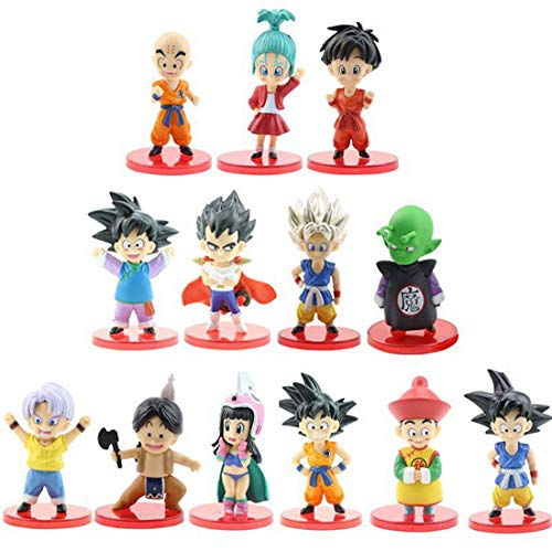"""Dragon Ball Z 4"""" Figures 13 Pack Super Stars Goku Dragon Toys Action Figures Cake Toppers Set - Dragon Ball Toy Collection Gift"""