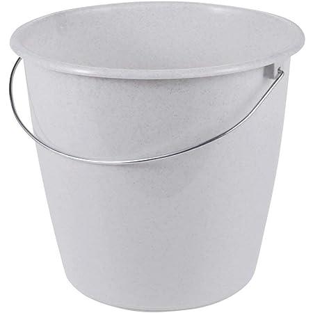 keeeper Bucket with Metal Handle, Sturdy Plastic (PP), Round, 5 l, Granite-Grey