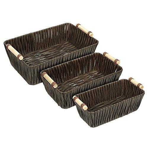 Juvale Wicker Basket Woven Storage Baskets Brown 3 Pieces