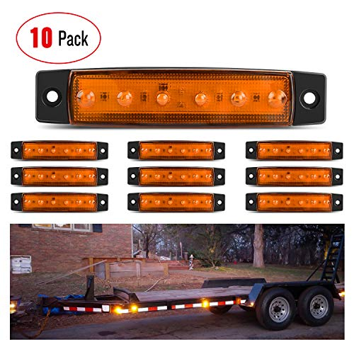 """Nilight TL-14 10PCS 3.8"""" 6 Amber Indicator Rear Side Truck Trailer RV Cab Boat Bus Lorry LED Marker Clearance Light, 2 Years Warranty"""