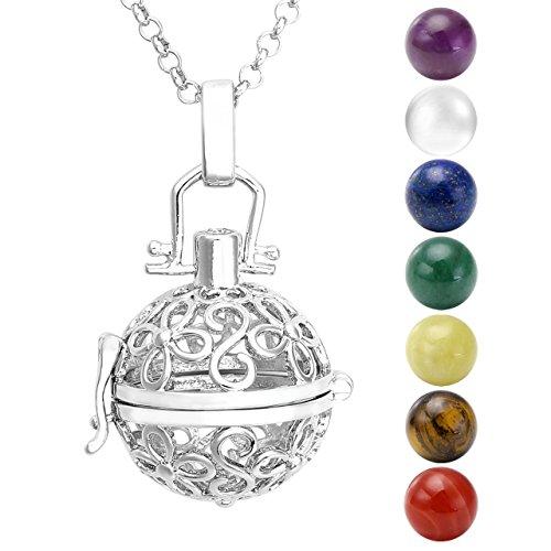 Jovivi - Collana con ciondolo in argento, ali + 7 pietre chakra naturali, tibetane, buddiste, rotonde e Argento, colore: Fleurs A, cod. jjn055001