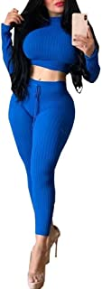 OLUOLIN Sexy Long Sleeve Crop Top + Skinny Pants Two Piece Set Jumpsuit Ribbed Club Outfits
