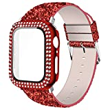 Wolait Compatible with Smart Watch Band with Glass Screen Protector 44mm,iWatch Leather Glitter Sparkly Wristband Bracelet with Bling Diamond Case for iWatch SE Series 6 5 4 Women-Red